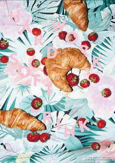 Croissant fraise affiche