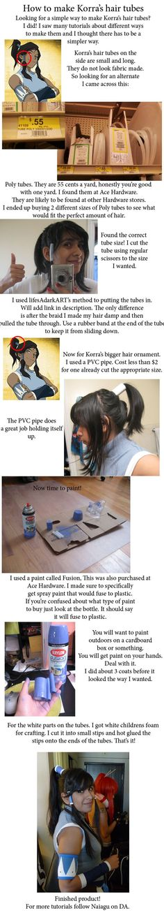 Just a simple tutorial to repurpose existing materials for a Korra Hair tube. by ~Naiagu on deviantART