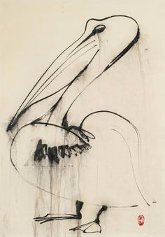 Brett Whiteley - Pelican Dripping Water, 1988. Contemporary Australian Artists, Pelican Art, Greyhound Art, Flora, Art Diary, Artist Gallery, Painting & Drawing, Watercolour Paintings, Ink Art