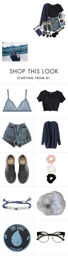 """""""blue-sushi"""" by blue-sushi ❤ liked on Polyvore featuring American Apparel, Dr. Martens, Jura, Forever 21, Waterman, Venessa Arizaga, Stay Home Club and Passport"""