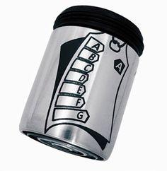 Spart bis zu 50% Wasser und Energie am Wasserhahn: AquaClic INOX Energieetikette aus Edelstahl.