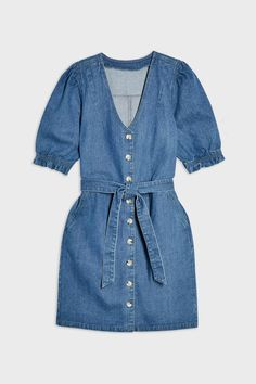 Blue Button Through Puff Sleeve Dress White Denim Dress, Blue Denim, Day Dresses, Blue Dresses, Dresses With Sleeves, Dress P, Shirt Dress, Dress Images, Summer Wardrobe