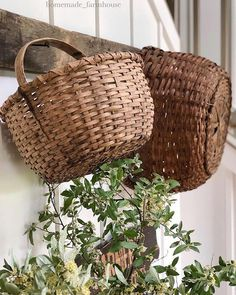 primitive country decorating a mantle Old Baskets, Vintage Baskets, Cane Baskets, Wicker Baskets, Country Charm, Country Decor, Country Fall, Country Christmas, Country Life