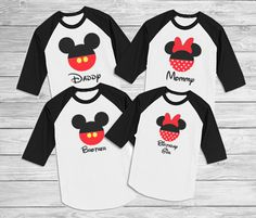 Disney FRONT and BACK Mickey and Minnie Custom Family Disney 3/4 sleeves shirts