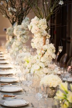Glamorous White Wedding from Emily Clarke Events - wedding centerpiece idea Wedding Event Planner, Wedding Events, Wedding Planning, Weddings, Wedding Reception Centerpieces, Wedding Decorations, Table Wedding, Reception Ideas, Mod Wedding