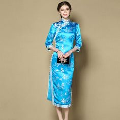 Enchanting Blue Brocaade Qipao Cheongsam Dress Dresses Women Chinese