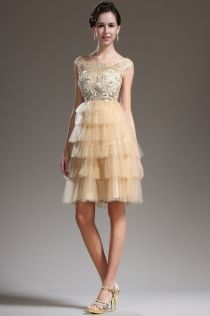 Champagne Illusion Bateau Neck Cap Sleeve Tulle Cocktail Dress