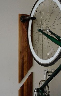 Vertical Bike Rack made of Steel Pipes, Leather and Solid Wood. (Free Shipping)