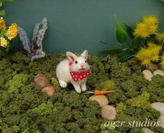 OOAK 1:12 Dollhouse Miniature Bunny Rabbit Furred Realistic Animal Pet Handmade