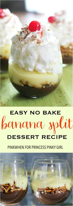 This Easy Banana Split Dessert recipe is the perfect Summer no bake dessert recipe of the year. christmas make,no bake desserts Mini Desserts, No Bake Desserts, Easy Desserts, Delicious Desserts, Dessert Recipes, Yummy Food, Cake Recipes, Birthday Desserts, Pudding Desserts