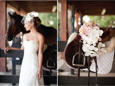 Equestrian Bridal Shoot - Belle the Magazine . The Wedding Blog For The Sophisticated Bride - Absolutely love the flowers & saddle display. Just beautiful & hits many loves...horses, the smell of saddle leather mixed w/beautiful delicateness of the stunning flower. Wow.