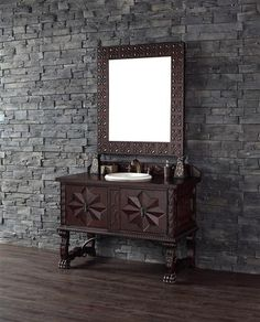 Shop for the best quality bathroom vanities. Solid wood construction Single Spanish Colonial Vanity with hand carved details. Single and double vanity cabinets in many finishes.