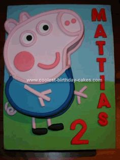 Homemade George Pig Birthday Cake: My kids are mad for Peppa Pig and my son loves George.  I had made my daughter a Peppa cake for her birthday and so I attempted the same George Pig Birthday
