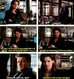 "#Castle 2x07 - ""Famous Last Words"" - Beckett and Castle. ""And there's the 12 year old again."""
