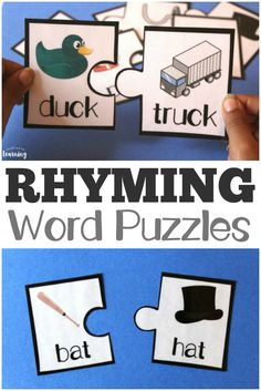 Fun Rhyming Literacy Puzzles for Kids! Help early readers learn to rhyme with these fun rhyming word puzzles! Rhyming Word Game, Rhyming Activities, Kindergarten Literacy, Early Literacy, Preschool Learning, Literacy Activities, Literacy Stations, Rhyming Words For Kindergarten, Rhyming Words For Kids