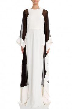 LK5 Two Tone Sheer Pan Kaftan by ELIE SAAB Arab Fashion, Muslim Fashion, Modest Fashion, African Fashion, Fashion Dresses, Caftan Dress, I Dress, Look 2017, Muslim Dress