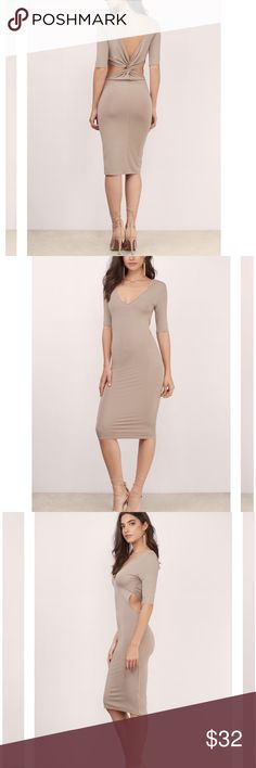 Tobi midi bodycon dress in taupe This dress is sold out! It's super adorable but is a bit too big on me. I'm normally a 00/0 and this fits more like a 2! Tobi Dresses Midi