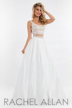 Rachel Allan 7505 White Swoop Neck Prom Dress