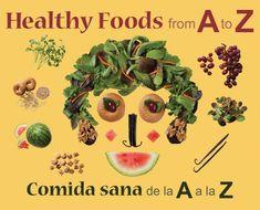 Healthy Foods from A to Z Comida sana de la A a la Z