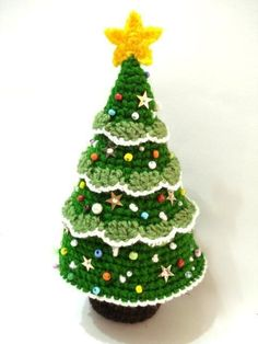 2014 diy christmas tree crochet - star , bells , green #2014 #Christmas