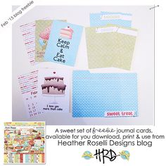 Free Sweet Treat Journal Cards from Heather Roselli Designs
