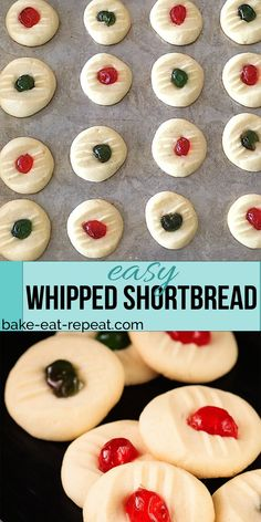 These light and sweet whipped shortbread cookies with a cherry on top are so quick and easy to make. These light and sweet whipped shortbread cookies with a cherry on to Galletas Cookies, No Bake Cookies, Cookies Et Biscuits, Yummy Cookies, Baking Cookies, Whipped Shortbread Cookies, Shortbread Recipes, Buttery Cookies, Sweets