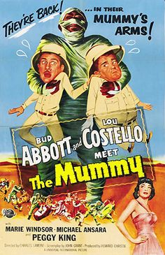ABBOTT & COSTELLO MEET THE MUMMY (1955) - Bud Abbott - Lou Costello - Marie Windsor - Michael Ansara - Peggy King - Directed by Charles Lamont - Universal-International - Movie Poster.
