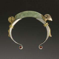Bracelet   Elaine Felhandler & Sue Steeneken - FS Design.  Carved Green Burmese Jadeite, Sterling Silver with 18k gold & Bronze Doré details and Mexican opal cabochons.