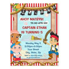 Jake and the Neverland Pirates Birthday Invitation Custom Invitations