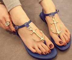 Stylish Women's anchor Sandals With Flip-Flop and Metal Design