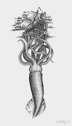 Kraken Art, Kraken Tattoo, Cthulhu Tattoo, Squid Tattoo, Octopus Tattoo Sleeve, Octopus Tattoo Design, Cool Art Drawings, Animal Drawings, Ant Drawing