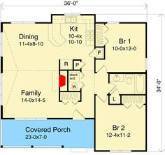 Cottage with Vaulted Ceilings - floor plan - Main Level 2 Bedroom House Plans, Cabin House Plans, Cottage Floor Plans, Bungalow House Plans, Cottage Plan, Small House Plans, House Floor Plans, Cabin Homes, Log Homes