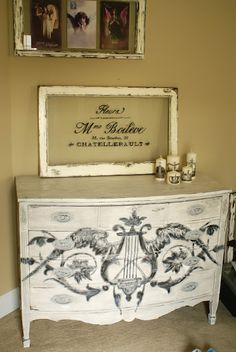 Ava Blake Creations: Vintage Bow Front Scroll Dresser with graphic from The Graphics Fairy