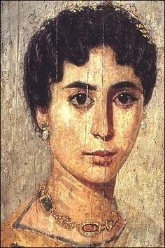 Mummy paintings were rendered from life using colored beeswax on wood panels bounded by linen strips on the outside of the mummy. Pigments mixed with hot wax were used by the Greeks to paint their warships. The Romans used this technique to make portraits on mummy cases in the Fayum region. It is nor clear whether it is the Egyptian influence or the Roman influence that makes the works so exquisite.