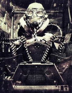 Turret gunner of a US bomber during WWII (1941-45)
