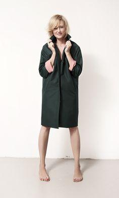 dark green rain coat
