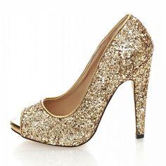 Gold Peep Toe Pumps