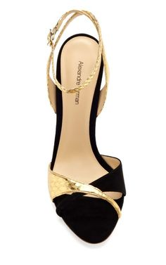 Black and Gold Gilda by Alexandre Birman Now Available on Moda Operandi Fancy Shoes, Crazy Shoes, Cute Shoes, Me Too Shoes, Blue Sandals, Shoes Sandals, Ankle Strap Heels, Beautiful Shoes, Designer Shoes