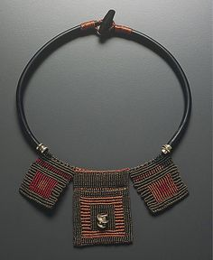 """Necklace   Sandy Swirnoff.  """"Triple Squares ~ from the Open Lines Series""""   Knotted fiber and sterling silver"""