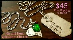 his and hers gift set, Personalized stainless steel set of necklaces with your names, initials, custom handmade, FREESHIPPING