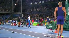 Sam Kendricks, US pole vaulter, stops mid-stride to stand at attention for national anthem.