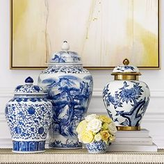 Williams-Sonoma Home Pops of yellow is an emerging trend for 2018 and is sensational with blue and white Chinese porcelain.