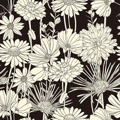 decorative art pattern | Continue reading 'Decorative Seamless Wallpaper with White Flowers ...
