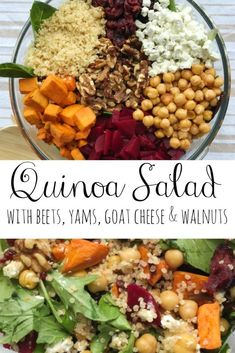 Healthy lunches 449937819024545984 - Healthy and filling quinoa salad with yams, beets, goat cheese, walnuts and quick lemon vinaigrette. Perfect as a side dish, healthy lunch or quick weekday dinner! Source by amgOD Whole Foods, Whole Food Recipes, Cooking Recipes, Cooking Tips, Slow Cooking, Clean Eating Snacks, Healthy Eating, Vegetarian Recipes, Healthy Recipes