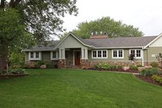 Make a ranch look like a craftsman! Traditional Home ranch exterior remodeling Design Ideas, Pictures, Remodel and Decor - wide window trim Ranch Exterior, Exterior Remodel, Exterior Siding, Exterior Windows, Clapboard Siding, Stone Exterior, Exterior Homes, Bungalow Exterior, Garage Remodel
