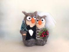 Christmas wedding cake topper Christmas owl wedding by Felt4Soul