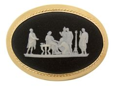 14K Yellow Gold Black Wedgwood Cameo Pin.1 3/4 inches long.