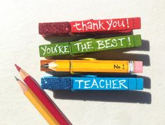 THE BEST TEACHER clothespins hand painted by SugarAndPaint on Etsy