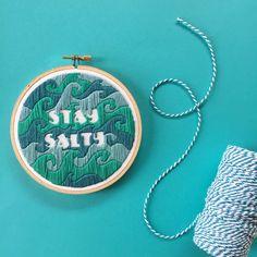 "Stay Salty ~ seascape ~ ocean waves ~ hand embroidery ~ hoop art ~ fiber art ~ wall art ~ home decor ~ [5"" hoop] by DestinyCityThreads on Etsy"