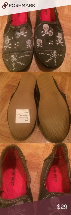 Nine West Loafers. Unused. New Condition Gray Canvas with white details Nine West Shoes Flats & Loafers